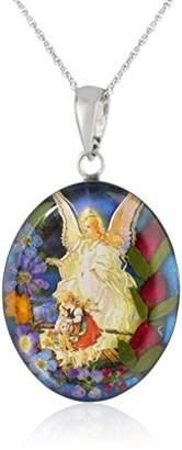 Sterling Silver Guardian Angel Pressed Flower Pendant Necklace