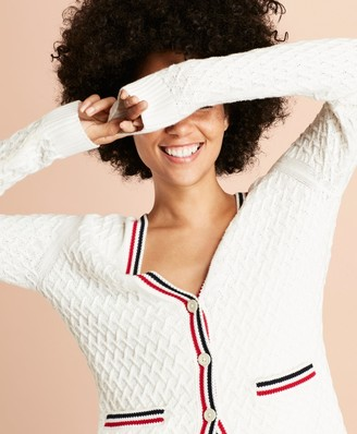 Brooks Brothers Stripe-Trimmed Cotton Pointelle Cardigan