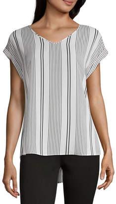 Liz Claiborne Womens V Neck Short Sleeve Woven Blouse