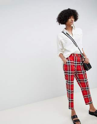 Asos DESIGN ultimate red and black check ankle grazer pants