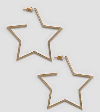 Orelia gold plated star hoop earrings