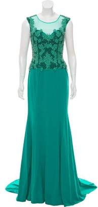 Terani Couture Sleeveless Bead-Embellished Evening Dress w/ Tags