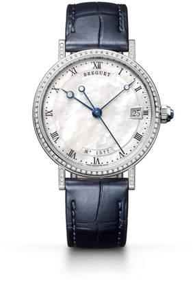 Breguet Classique 33.5mm 18k White Gold Diamond Watch w/ Alligator Strap