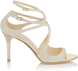 Jimmy Choo IVETTE Platinum Ice Dusty Glitter Sandals