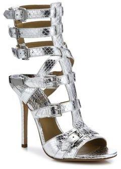 Michael Kors Collection Ming Metallic Snakeskin Gladiator Sandals