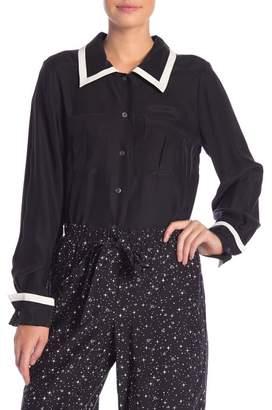 Frame Double Pocket Long Sleeve Silk Button Down Shirt
