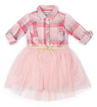 Little Lass Long Sleeve Hi-Low Plaid Dress - Baby Girls