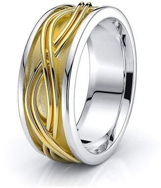Celtic Alganati 10K White Yellow Gold 7mm Infinity Knot Wedding Band Rings