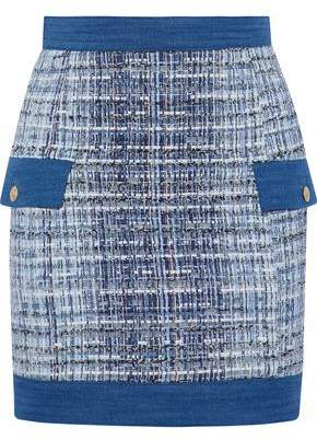 Pierre Balmain Denim-Trimmed Frayed Cotton-Blend Tweed Mini Skirt