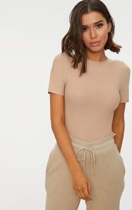 PrettyLittleThing Stone Crepe Short Sleeve Thong Bodysuit