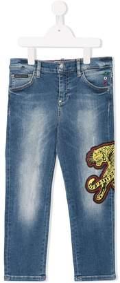 Philipp Plein Junior patch embellished jeans