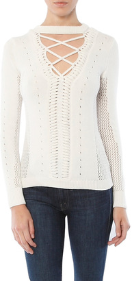 Minnie Rose Lace Up V-Neck Sweater $196 thestylecure.com