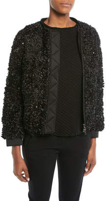 Emporio Armani Embellished Zip-Front Jacket w/ Detachable Faux-Fur Trimmed Hood