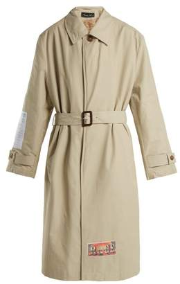 Martine Rose Patch AppliquA Cotton Blend Trench Coat - Womens - Ivory