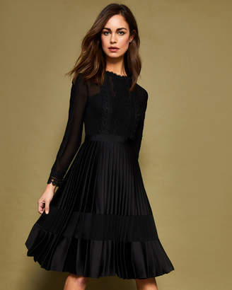 at Ted Baker Ted Baker LOOEZ Lace trim pleated midi dress