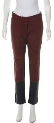 Diane von Furstenberg Suede Mid-Rise Straight-Leg Pants Brown Suede Mid-Rise Straight-Leg Pants
