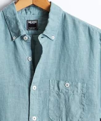 Todd Snyder Slim Fit Linen Button Down Shirt in Spruce