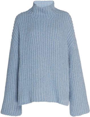 Sally LaPointe Silk Cashmere Cord Oversized Mock Neck Sweater
