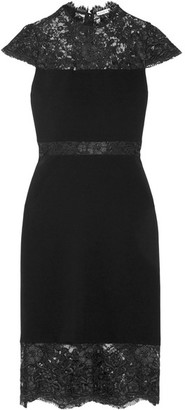 Alice + Olivia - Kim Corded Lace-paneled Crepe Dress - Black $470 thestylecure.com