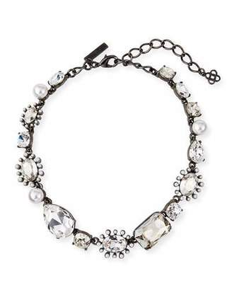Oscar de la Renta Bold-Mix Jeweled Necklace, Silver