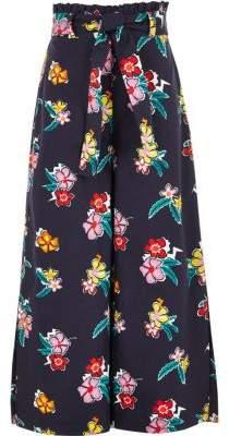 River Island Girls blue paperbag waist wide leg pants
