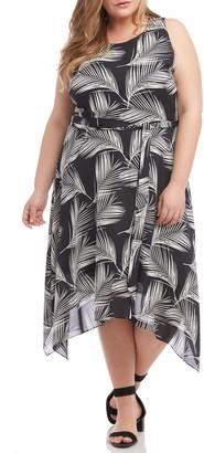 Karen Kane Handkerchief Hem Palm Print Crepe Dress