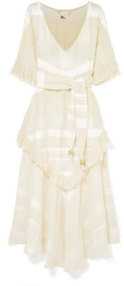 Lisa Marie Fernandez Laura Fringed Tiered Cotton-gauze Maxi Dress - Cream