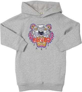 Kenzo Tiger Hooded Cotton Sweatshirt Dress