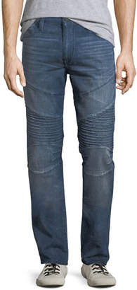 True Religion Men's Rocco Moto Worn High Frequency Denim Jeans