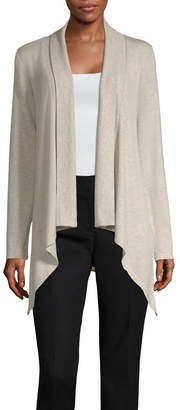 Liz Claiborne Long Sleeve Sharkbite Hem Cardigan - Tall