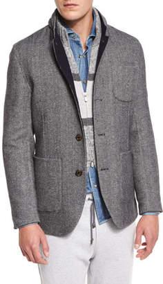 Brunello Cucinelli Double-Face Wool-Blend Blazer