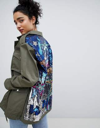 Bershka sequined cargo jacket in khaki