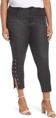 Seven7 High Rise Grommet Slit Hem Ankle Skinny Jeans