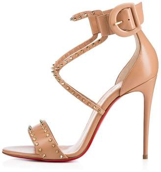 Christian Louboutin Christian; Louboutin Womens Choca Spikes Strappy Sandal Nude Leather Summer