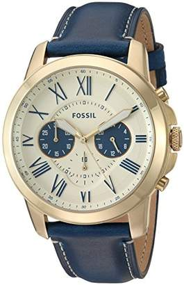 Fossil Men's FS5271 Grant Chronograph Blue Leather Watch