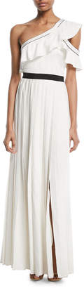 Self-Portrait Self Portrait Pleated One-Shoulder Maxi Cocktail Dress