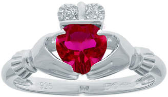 JCPenney FINE JEWELRY Heart-Shaped Lab-Created Ruby and Diamond-Accent Sterling Silver Claddagh Ring