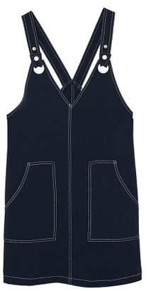 MANGO Contrasting seams pinafore dress