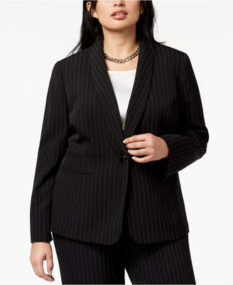 Kasper Plus Size Striped One-Button Jacket