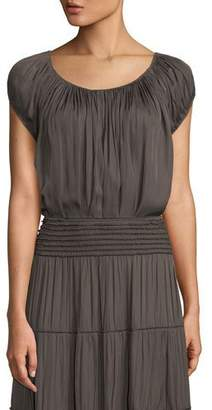 Halston Cap-Sleeve Ruched-Neck Top