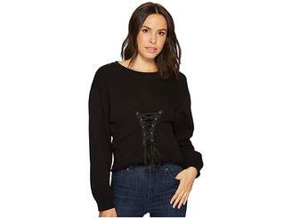 Blank NYC Long Sleeve Shirt with Lacing Detail in Laced and Tied Women's Long Sleeve Pullover