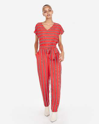 Express Petite Stripe V-Neck Short Sleeve Jumpsuit