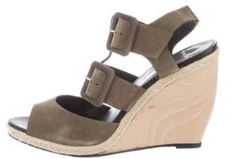 Pierre Hardy Suede Multi-Strap Wedge Sandals Olive Suede Multi-Strap Wedge Sandals