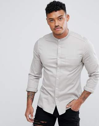 Asos Design Stretch Slim Denim Western With Grandad Collar In Grey