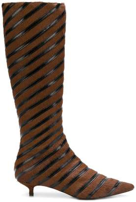 Sonia Rykiel striped kitten heel boots
