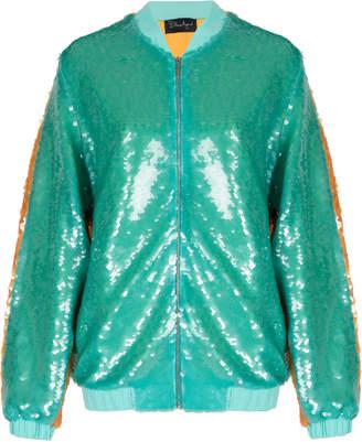 Dima Ayad Color Blocked Sequin Bomber Jacket Size: XXL