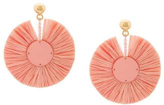 Oscar de la Renta small raffia disk pierced earrings