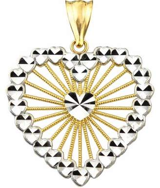 US Gold Handcrafted 10kt Gold Multi-Heart Diamond-Cut Charm Pendant