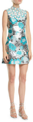 Michael Kors Embellished-Bib Sleeveless Metallic Floral-Brocade Short Dress