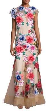 Basix II Black Label Floral Applique Mermaid Gown